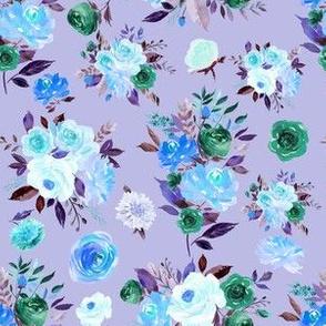"""6"""" BLUE Watercolor Floral Bouquets on Purple"""