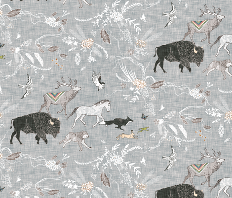 Fall Stampede (LARGE)  fabric by nouveau_bohemian on Spoonflower - custom fabric
