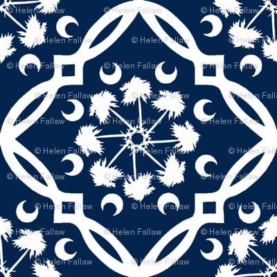 Navy and White South Carolina Palmetto Tree Medallion