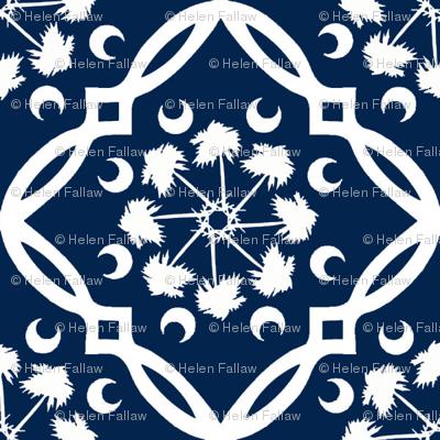Navy and White South Carolina Palmetto Tree Medallion