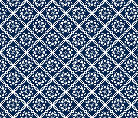 Navy and White South Carolina Palmetto Tree Medallion fabric by rick_rack_scissors_studio on Spoonflower - custom fabric