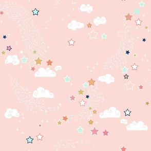 Stars coordinate for mint+navy+coral+gold mermaids (MED)