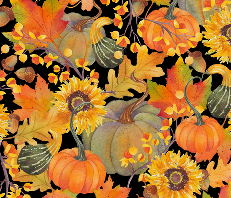 rustic fall w/black fabric by divadeba on Spoonflower - custom fabric