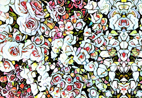 Roses in mosaic fabric by floraryfabrics on Spoonflower - custom fabric