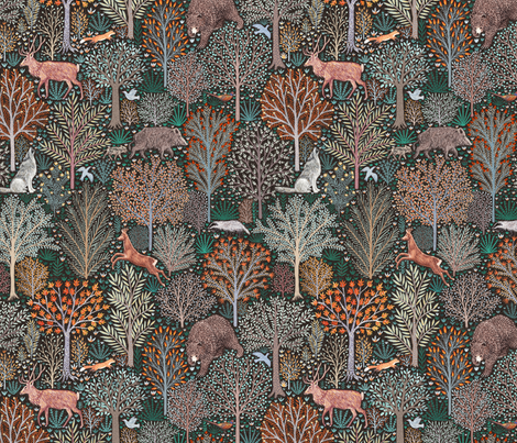 Rustic Fall - Forest animals - les animaux de la fôret fabric by rebecca_reck_art on Spoonflower - custom fabric
