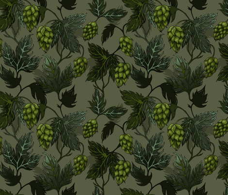 I'm Hoppy For You - Hops Design fabric by clairekalinadesigns on Spoonflower - custom fabric