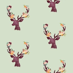 "4"" Autumn Wine Floral Deer // Sage"