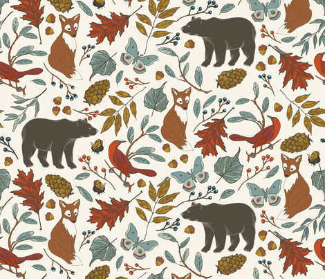 Autumn in the Air - Ivory fabric by fernlesliestudio on Spoonflower - custom fabric