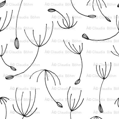 monochrome dandelion black white
