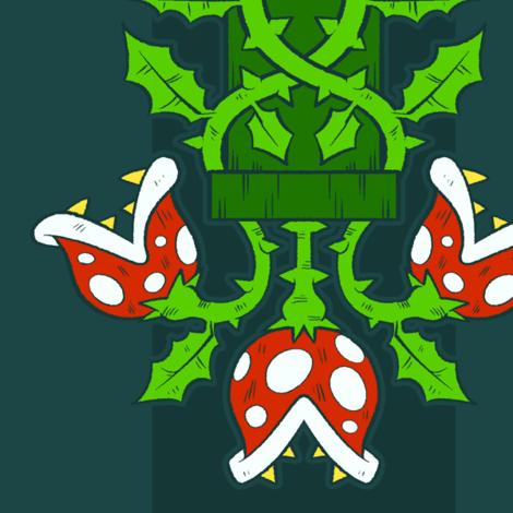 Piranha Plant Damask fabric by introducingemy on Spoonflower - custom fabric