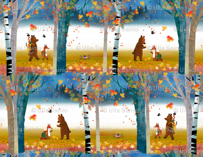 Bear & Fox in the Fall Forest