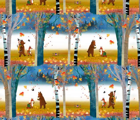 Bear & Fox in the Fall Forest fabric by ullamermaid on Spoonflower - custom fabric