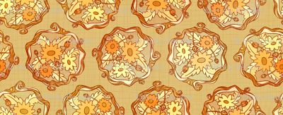 Golden Fall Flower Damask