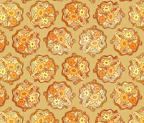 Golden Fall Flower Damask fabric by hollybender on Spoonflower - custom fabric