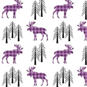 Woodland Moose Baby Design – Plum + Wisteria Plaid Buffalo Plaid Check Forest Baby Girl Nursery Bedding