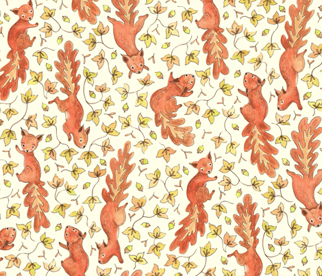 Rustic Acorn Squirrels fabric by lauraflorencedesign on Spoonflower - custom fabric