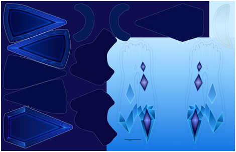 Elementalist Lux Ice suit - hip pieces and gloves fabric by morgawse on Spoonflower - custom fabric