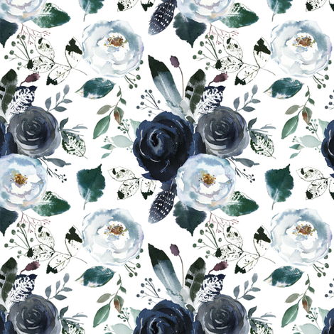 Boho Navy Peony Florals fabric by hipkiddesigns on Spoonflower - custom fabric