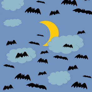 Halloween Bats on Night Sky