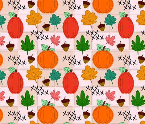 Autumn Stitches fabric by katiecraftymom on Spoonflower - custom fabric
