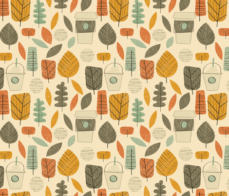 Midcentury Pumpkin Spice fabric by justdani on Spoonflower - custom fabric