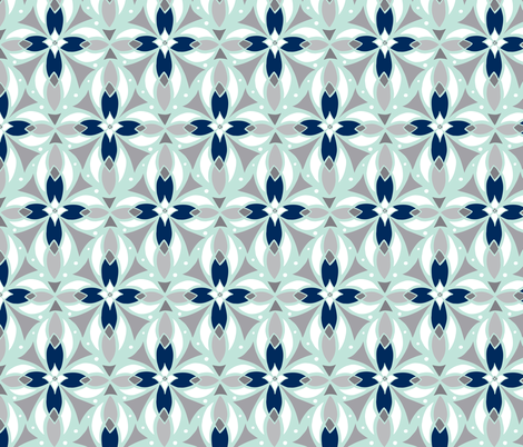 Leadlight - Geometric Mint fabric by heatherdutton on Spoonflower - custom fabric