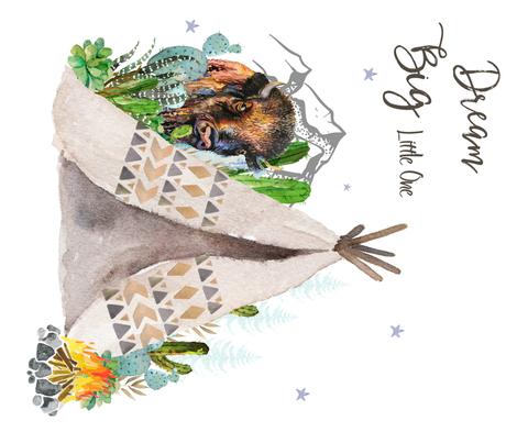 """42""""x36"""" Dream Big Buffalo  fabric by shopcabin on Spoonflower - custom fabric"""