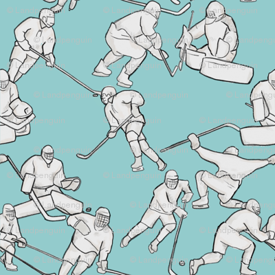 Hockey Retake on Light Blue