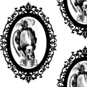 8 Marie Antoinette french France Queen Empress poufs skulls skeletons Victorian elegant gothic lolita Baroque Rococo Princess monochrome black white filigree borders frames medallions  morbid macabre scary parody caricature egl
