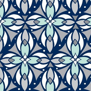 Leadlight - Geometric Navy Blue