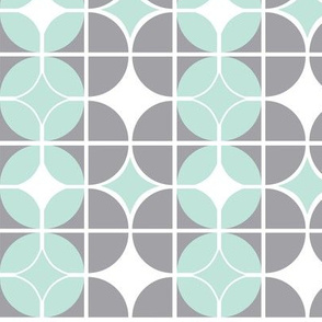 Othello - Midcentury Modern Geometric Grey & Mint