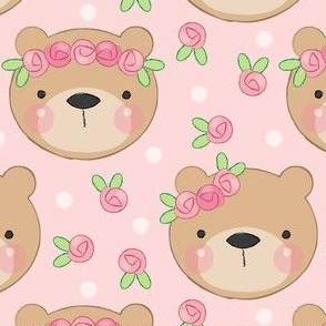 bear faces and roses on pink