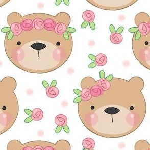 bear faces and roses on white