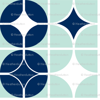 Othello - Midcentury Modern Geometric Mint & Navy