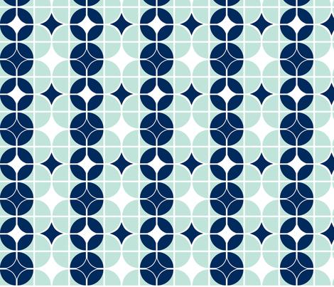 Othello - Midcentury Modern Geometric Mint & Navy fabric by heatherdutton on Spoonflower - custom fabric