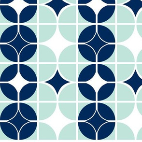Othello - Midcentury Modern Geometric Mint & Navy