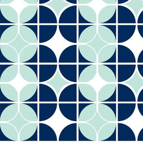 Othello - Midcentury Modern Geometric Navy & Mint