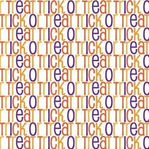 Cute Trick or Treat Pattern in White Orange Gold Purple Text Pattern