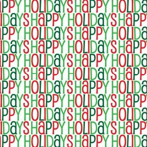 Happy Holidays Text Pattern in Shades of Green Red and White