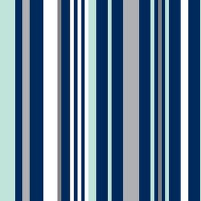 Swingset Stripe - Navy Mint Grey