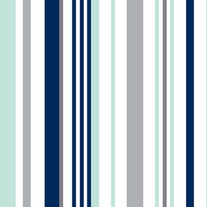 Swingset Stripe - White Navy Mint