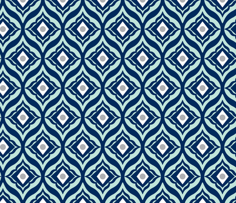 Trevino - Geometric Navy Blue & Mint fabric by heatherdutton on Spoonflower - custom fabric