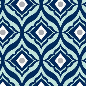 Trevino - Geometric Navy Blue & Mint