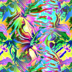 INCREDIBLE FRUITY FLOWERS FLOWERY FRUITS ABSTRACT STRIPES 2 YELLOW AQUA TURQUOISE