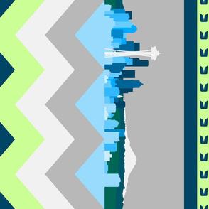 Seattle Sports Skyline Chevron Border vertical repeat