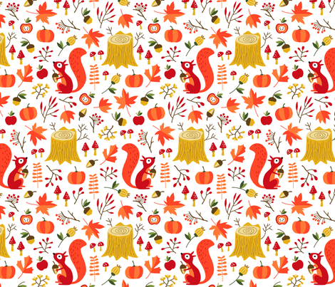Squirrels in fall forest fabric by heleen_vd_thillart on Spoonflower - custom fabric