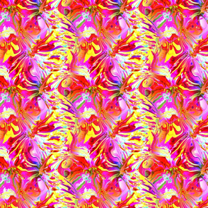 INCREDIBLE FRUITY FLOWERS FLOWERY FRUITS ABSTRACT STRIPES 4  FUCSHSIA PINK YELLOW