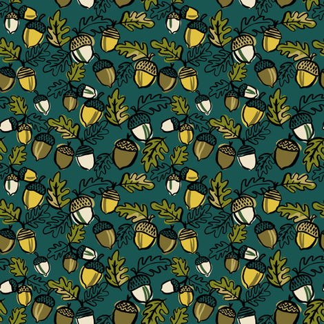 Autumn acorns fabric by laura_may_designs on Spoonflower - custom fabric