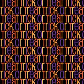 Trick or Treat Pattern in Black Orange Gold Purple Text Pattern