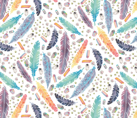 Gypsy Dreams Feathers and Jewels on White fabric by shannalene on Spoonflower - custom fabric
